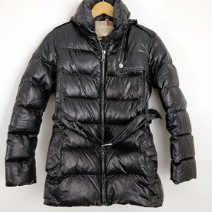 Burberry Brit Glossy Black Belted Puffer Coat XSP